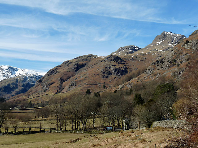 The Langdale Pikes from the garden at Long House Cottages.