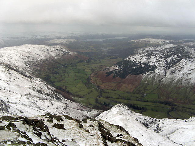 The view from Harrison Stickle looking down Langdale to Windermere.